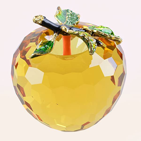 LONGWIN Faceted Crystal Apple Figurine 80mm 3 1 Inch Cut Faceted Glass Paperweight Yellow