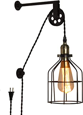Modern Industrial Rustic Cage Wall Lamp Lift Pipe Pulley Wall Lights Fixture - Retro Pendant Lamp Adjustable with Plug in Cor