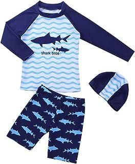 (アルビビ) Alvivi 水着 男の子 長袖ラッシュガード UVカット キャップ付 3点セット 男児用水着 パンツ水着 セパレート 長袖トップス ハーフパンツ
