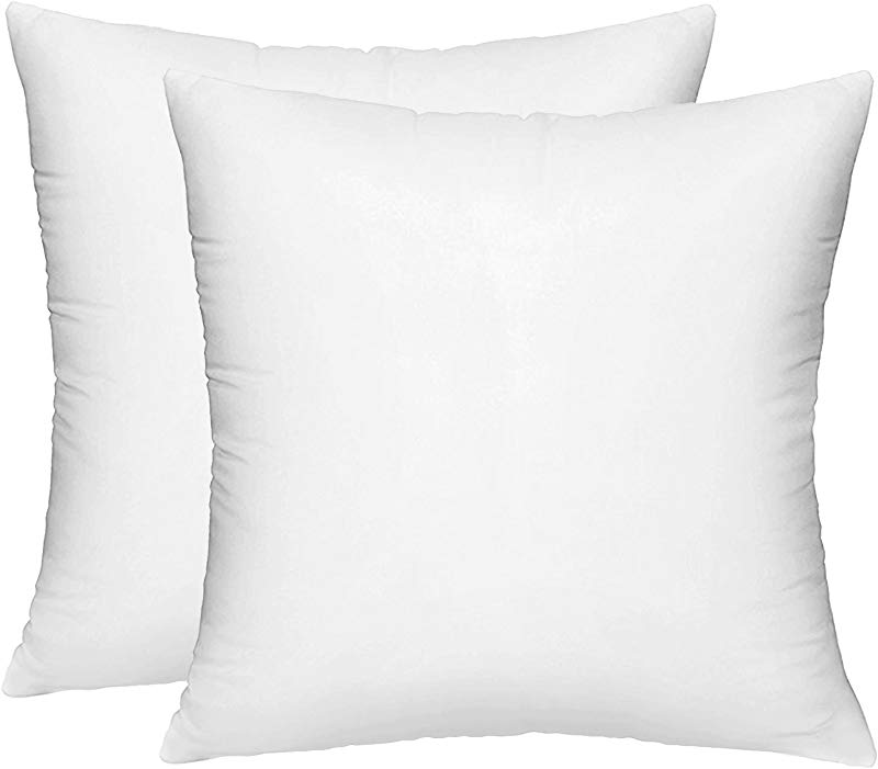 HIPPIH 2 Pack Pillow Insert 18 X 18 Inch Hypoallergenic Decorative Square Sofa And Bed Pillow Form Inserts