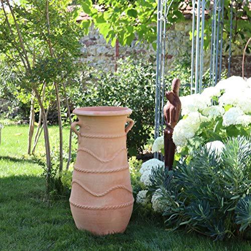 Kreta-Keramik | große terrakotta Amphore mit Henkel | 80 cm | handgefertigte und frostfeste Pflanzamphore | mediterrane Deko im Garten Außenbereich Innen, Cistus