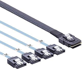 10Gtek Internal Mini SAS 36pin (SFF-8087) Male to 4x SATA 7pin Female Fan-out Cable, 0.5-meter (1.6feet)
