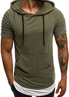 Mogogo Men's Pocket Pleated Casual Pullover Long Sleeve Hooded Sweatshirt