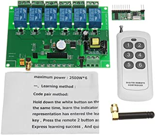 ILS. - DC 12V 6 Channel DIY Receiver Relay Module Board with Wireless RF Remote Control Switch