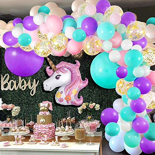 Unicorn Balloon Arch and Garland Kit - 148 Pieces Pink Purple White Mint Green and Gold ConfettI Balloons with Giant Foil Unicorn Balloon for Baby Shower Wedding Birthday Party Background Decorations