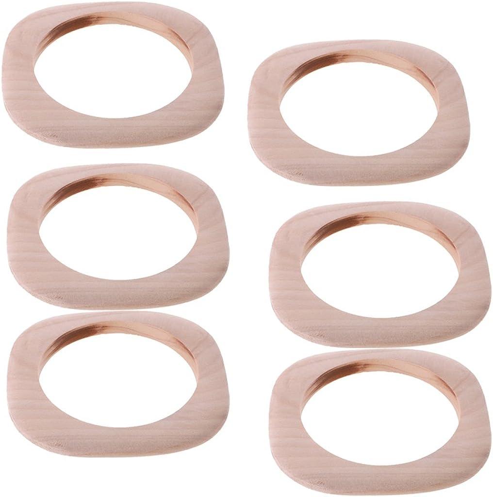 MonkeyJack 6 Pieces Unfinished Square Wooden Bangle Bracelet DIY Painting Wood Crafts