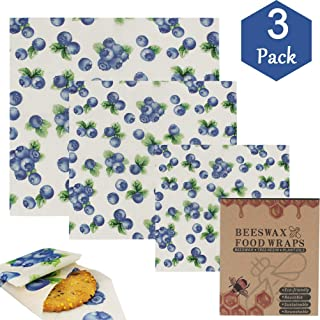 Reusable Beeswax Food Wraps - Organic Cotton Beeswax Wraps - Eco Friendly, Zero Waste, Non Toxic, All Natural Food Grade Storage - Set of 3 (Large, Medium, Small) - Alternative to Cling Film