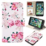UrSpeedtekLive iPhone 7 Plus/8 Plus Wallet Case, Premium PU Leather Flip Case Cover w/Card Slots & Kickstand Compatible with Apple iPhone 7 Plus/8 Plus,Flower 2
