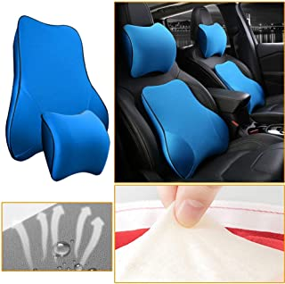 Muchkey Car Lumbar Support Back Cushion & Headrest Neck Pillow Kit Cushion Memory Foam Erognomic Design with Back Pain Relief for Toyota Corolla Vios Prius Reiz RAV4 Levin Prado FJ150 Camry(Blue)