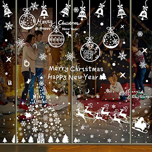 Datyeco Fensterfolie Weihnachten, Fenstersticker Weihnachten, Weihnachts Fensterbilder, Weihnachten Fenstersticker, Fensterbild Weihnachtsbaum mit Schneeflocke Weihnachtsbaum Elk Weihnachtsmann Bell
