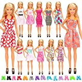 Miunana Ensemble 22 Pièces De Vêtements et Accessoires pour Poupée Fille de 11.5inch( 12 Belles Robes Tenues en Vogue & 10 Paires de Chaussures )