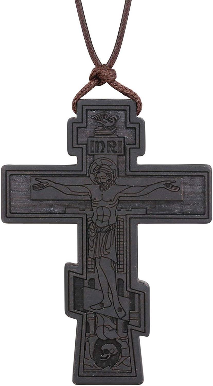 COTTVOTT Wood Orthodox Cross Pendant Necklace Christian Crucifix Necklace Prayer Jesus for Women Men