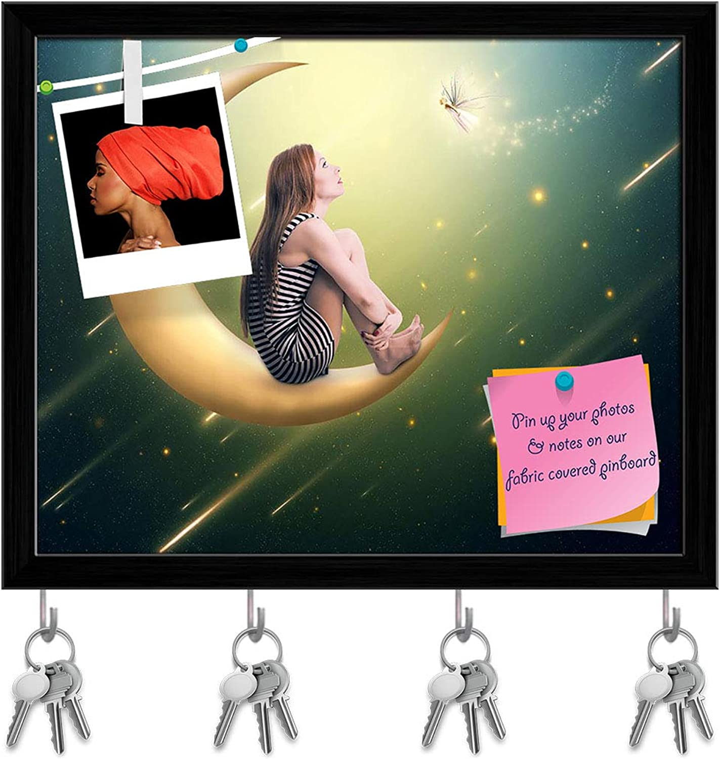 Artzfolio Lonely Thoughtful Woman Key Holder Hooks   Notice Pin Board   Black Frame 19.8 X 16Inch