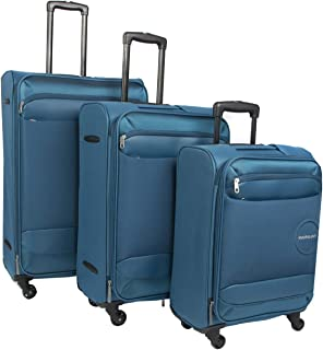 Kamiliant Set of 3, Soft Luggage Trolly Bag With Number Lock, 55+65+76cm, Blue