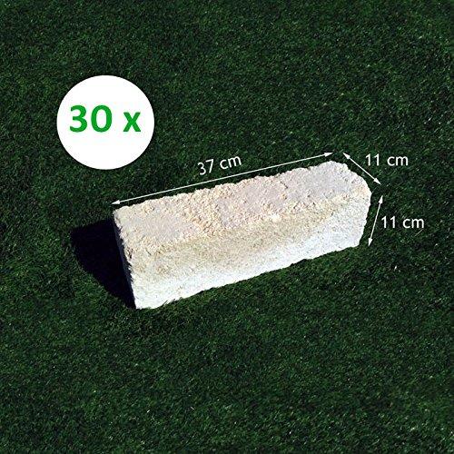 30 Mattoni di tufo Chiaro 37x11x11cm Blocchi per Ornamento aiuole e Giardino
