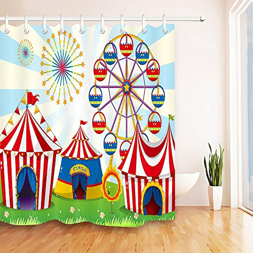 JIAXIN A Carnival With Stripe Tents Circus Bathroom decoration quick-drying shower curtain waterproof 180x180CM