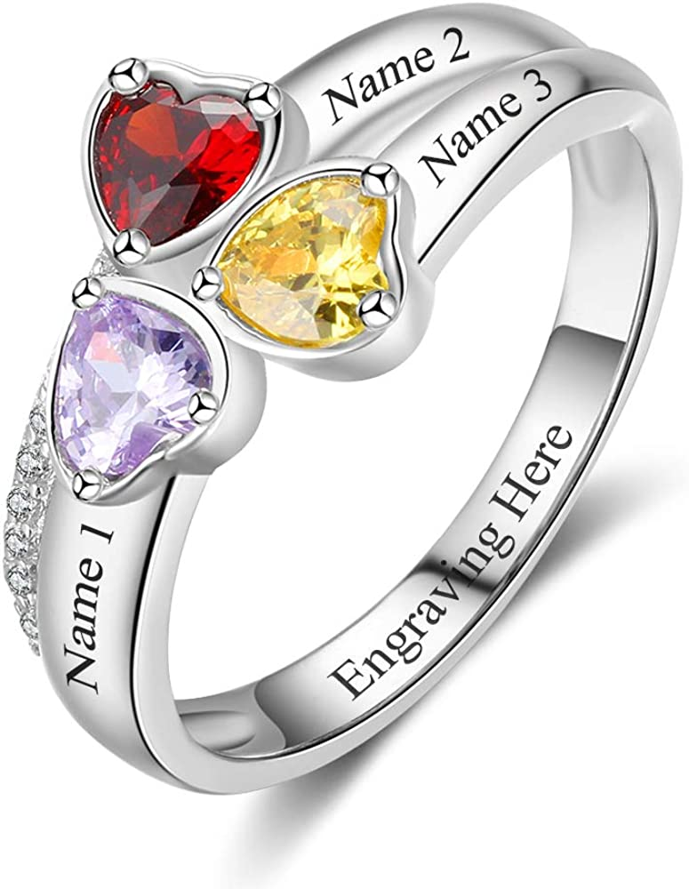 ALBERTBAND Personalized Promise Rings for Heart Mothers with S Max New arrival 76% OFF 3