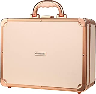 DNZJ Cosmetic Travel Cases Makeup Box Professional Travel Make Up Box with Three-Color LED Light and Mirror, Pink Cosmetic...