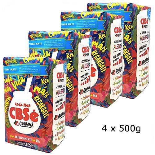 CBSé - Yerba Mate con guaraná, proporciona energía, 500g (4x500gr)