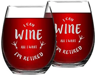 Retirement Wine Glass Gifts, I Can Wine All I Want I'm Retired Retirement Stemless Wine Glass, Retirement Gifts for Women Men Coworkers Boss Retiree, 15 Oz, Set of 2