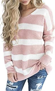 Misaky Women's Sweater Loose Plus Size O-Neck Long Sleeve Stripe Patchwork Tops Blouse