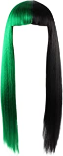 Green and Black Wig Two Tone Long Straight Hair Fun Wigs with Bangs for Halloween Cosplay Costume Party
