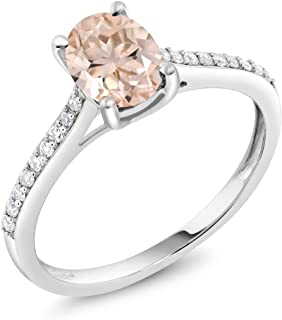 Gem Stone King 10K White Gold Peach Morganite and Diamond Women's Engagement Solitaire Ring 1.10 Center Oval Stone: 8X6MM (Available 5,6,7,8,9)
