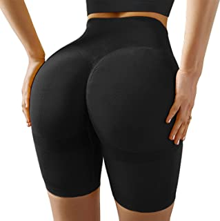 High Waisted Yoga Shorts for Women Tummy Control Leggings Butt Lifting Textured Workout Shorts(Black(1),Large)