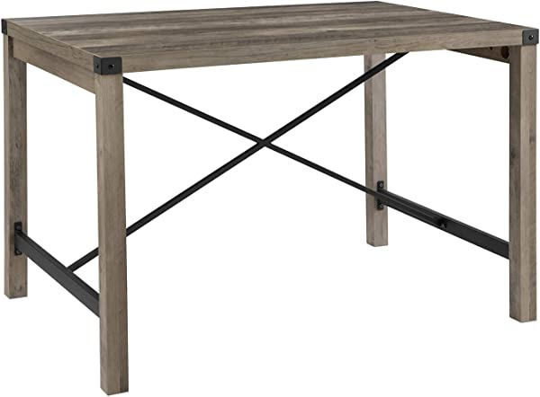 Walker Edison Furniture Company 48 Industrial Farmhouse Dining Table Grey Wash