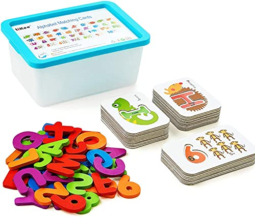 LIKEE Alphabet Number Flash Cards Wooden Letter Puzzle ABC Sight Words Matching Games Animal Counting Board Preschool...