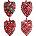 Lamphyface 4Pcs Dog Bandana Christmas Pet Triangle Scarf Plaid Snowflake Accessories Bibs for Dog Cat