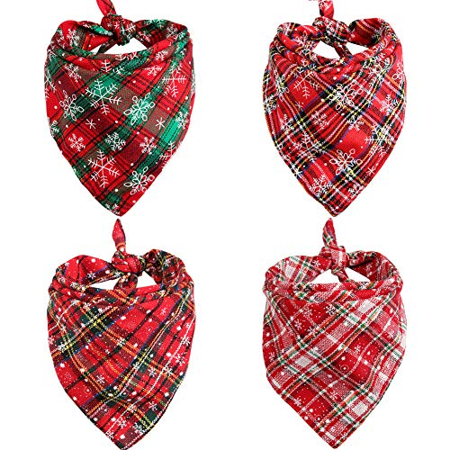 4Pcs Dog Bandana Christmas Pet Triangle Scarf Plaid Snowflake Accessories Bibs for Dog Cat