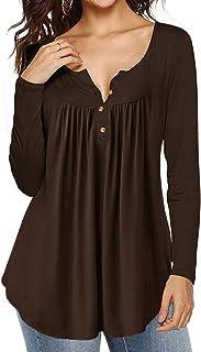 قمصان AMCLOS النسائية ذات القلنسوة المربوطة ذات الرقبة على شكل حرف V بأزرار فوق سترة طويلة بدون أكمام وطيات انسيابية