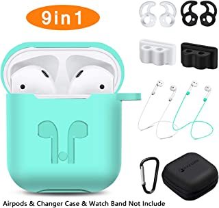 AirPods Case, Rockindeer 9 in 1 AirPods Accessories Set Protective Silicone Cover and Skin Compatible Apple AirPods Charging Case with Watch Band Holder/Ear Hook/Keychain/Strap/Carrying Box (Green)