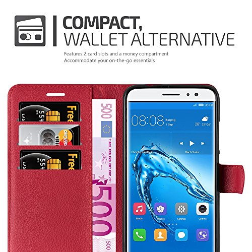 Cadorabo Hülle für Huawei NOVA Plus - Hülle in Karmin ROT – Handyhülle mit Kartenfach und Standfunktion - Case Cover Schutzhülle Etui Tasche Book Klapp Style - 4