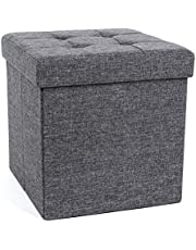 SONGMICS Folding Storage Chest Ottoman Footstool Portable Picnic Seat Versatile Space-saving CubesMax Load 300 kg Linenette Dark Grey 38 x 38 x 38 cm LSF82GYZ