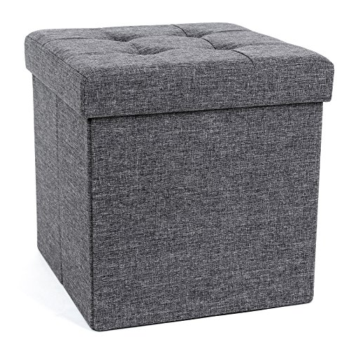 SONGMICS 15 x 15 x 15 Inches Folding Storage Ottoman Cube Footrest Stool Coffee Table Puppy Step, Holds Up to 660lb, Fabric, Dark Grey ULSF27Z