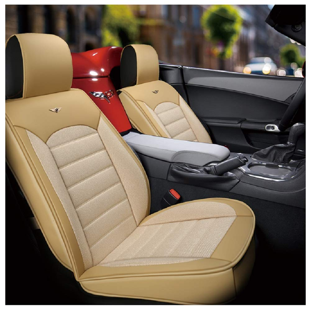Amazon Com Outos Luxury Cotton And Linen Blended Weave Auto Car Seat Covers 5 Seats Full Set Universal Fit Upgrade Beige Automotive