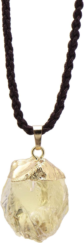 Paialco Natural Lemon Quartz Rough Stone Healing Crystal Pendant Necklace