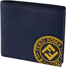 Fendi Billfold Calf Leather Navy Wallet w Marine Yellow Fendi Stamp 7M0169