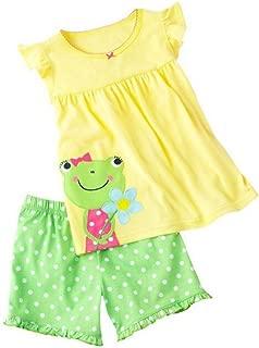 Shorts Little Girl Frog 2 Piece Pajama Shorts 100% Cotton (Size 18m-10T)