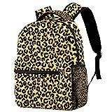 Mochila escolar de 16 pulgadas para estudiantes, bolsa de viaje básica, para portátil, piel de leopardo