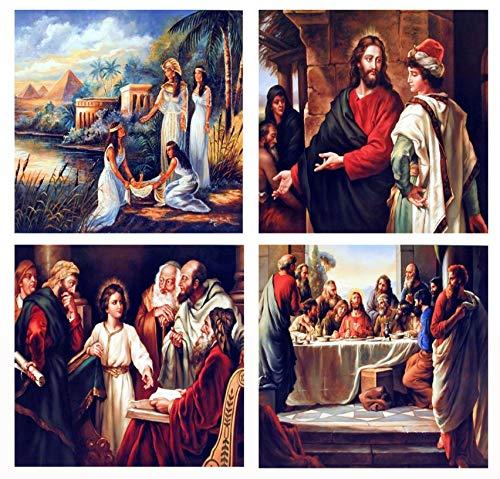 Jesus Cristão Católico Sagrado Bíblia Religioso e Espiritual Conjunto de quatro fotos 8 x 10 Pôsteres de impressão artística de decoração de parede
