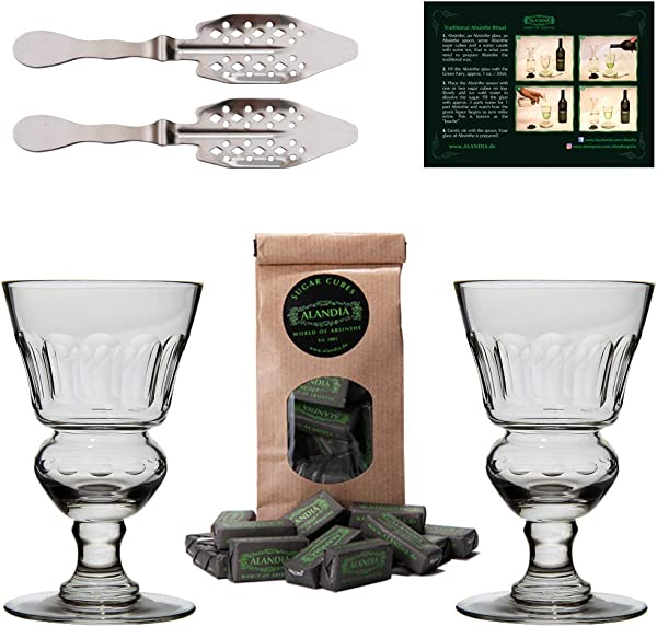 Premium Absinthe Spoons Glasses Set 2x Absinthe Glasses 2x Absinthe Spoons 1x Absinthe Sugar Cubes 1x Drinking Instructions Card For The Absinthe Ritual