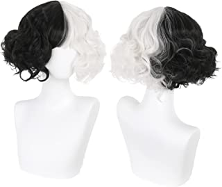 Cruella le Women's Kuila Black and White Wig with Bangs Short Wave Curly Synthetic Hair Wig Party Cosplay Halloween Wig