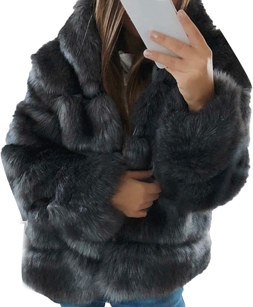 dSNAPoutof Women Thicken Faux Fur Coat, Warm Fluffy Hooded Long Sleeve Imitation Rabbit Hair Jacket Outerwear Jacket for Girls Party Travel Outdoor Shopping Street Wear Dark Gray XL