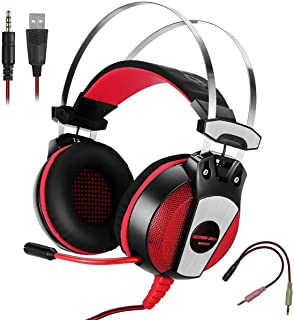 KOTION EACH GS500 Surround Gaming Headset With Noise Cancelling Microphone,LED Lights and Volume Control - For With PC / L...