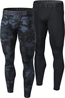Men's (Pack of 2) Compression Pants Baselayer Cool Dry Sports Tights Leggings