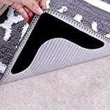 Rug Grippers with Super Stickiness- Anti Curling Carpet Tape Non-Slip Area Keeps Your Rug in Place and Makes Corners Flat for Corners and Edges Renewable 8pcs(Black)