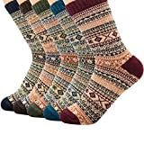 Zando Woman Cute Wool Boot Socks Retro Cashmere Diamond Crew Socks Kint Casual Winter Wool Socks 5 Pack Chic Diamond